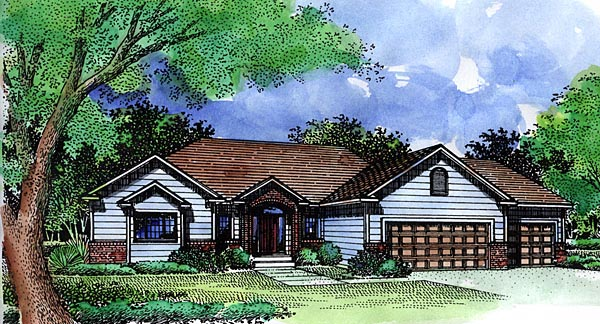 Country Ranch House Plan 57474 Elevation