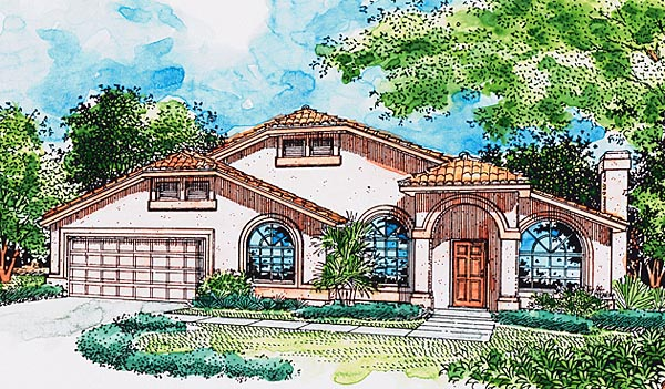 Florida Mediterranean Southwest House Plan 57475 Elevation