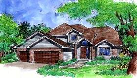 House Plan 57477 with 3 Beds, 3 Baths, 3 Car Garage Elevation