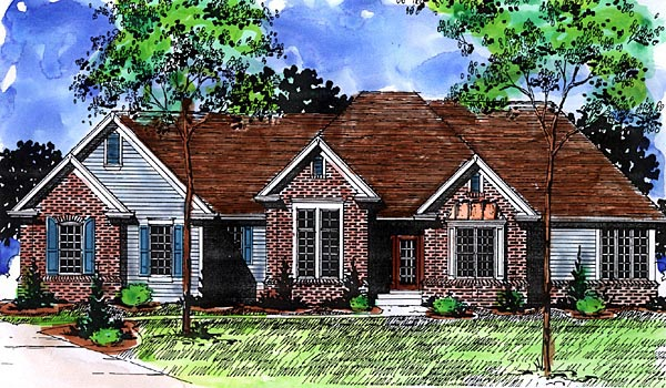 European House Plan 57478 Elevation