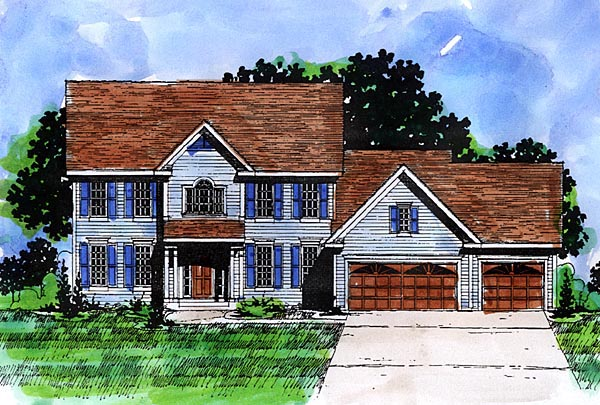 Colonial House Plan 57479 with 4 Beds, 3 Baths, 3 Car Garage Elevation