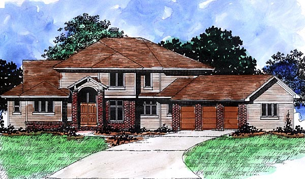 Traditional House Plan 57480 with 4 Beds, 4 Baths, 3 Car Garage Front Elevation