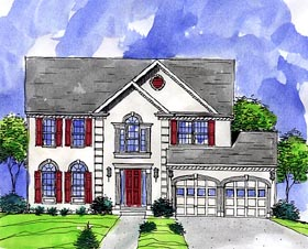House Plan 57484 | Colonial European Style Plan with 2220 Sq Ft, 4 Bedrooms, 3 Bathrooms, 2 Car Garage Elevation