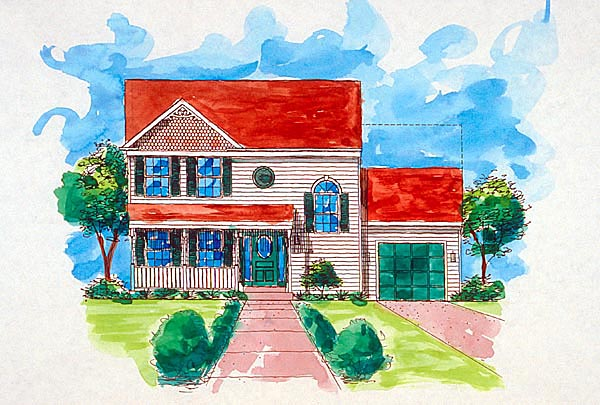 Country, Traditional House Plan 57485 with 3 Beds, 3 Baths, 1 Car Garage Elevation