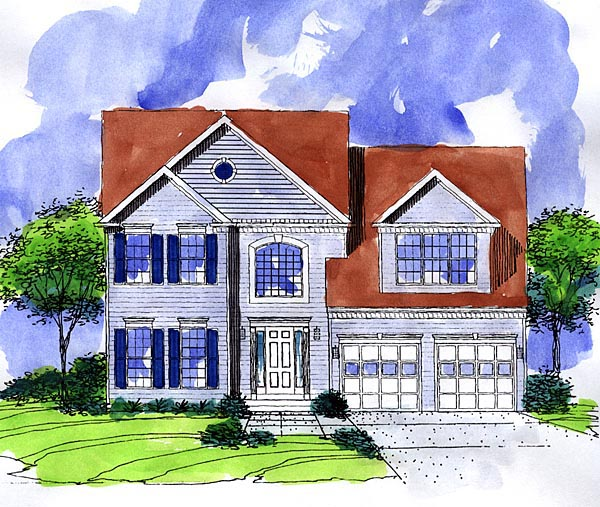 Colonial House Plan 57487 Elevation