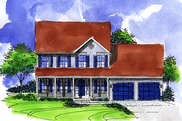Colonial Country Farmhouse House Plan 57488 Elevation