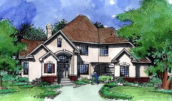 European House Plan 57489 with 4 Beds, 3 Baths, 2 Car Garage Elevation