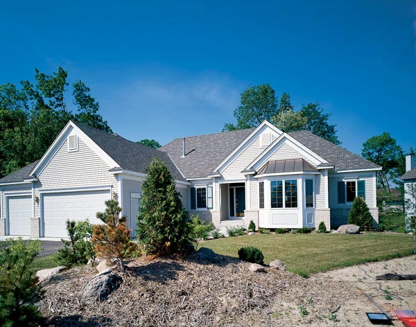 European House Plan 57492 with 1 Beds, 2 Baths, 3 Car Garage Elevation