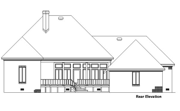 Country European House Plan 57493 Rear Elevation