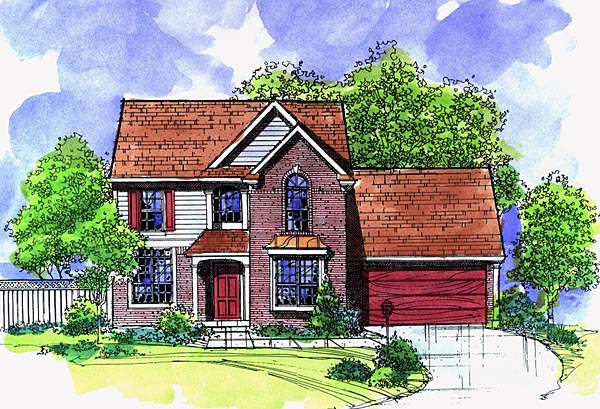 House Plan 57496 with 4 Beds, 3 Baths, 2 Car Garage Elevation