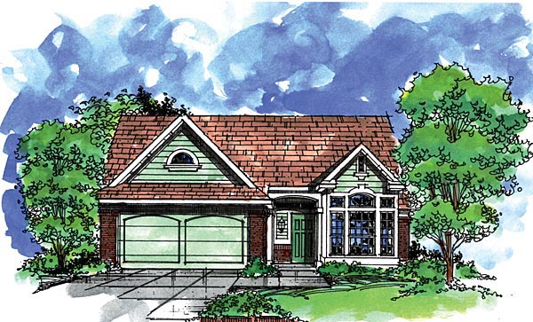 Country House Plan 57497 with 3 Beds, 2 Baths, 2 Car Garage Elevation