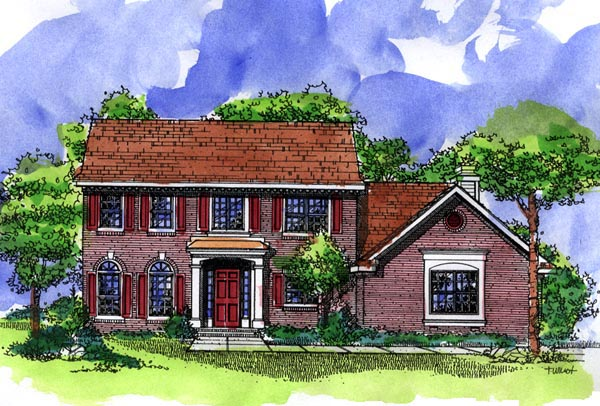 Southern House Plan 57498 with 4 Beds, 3 Baths, 2 Car Garage Elevation
