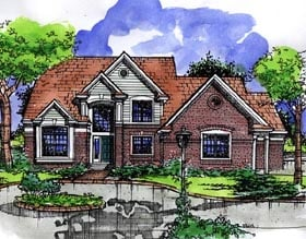 House Plan 57500 | European Style Plan with 2758 Sq Ft, 4 Bedrooms, 4 Bathrooms, 3 Car Garage Elevation