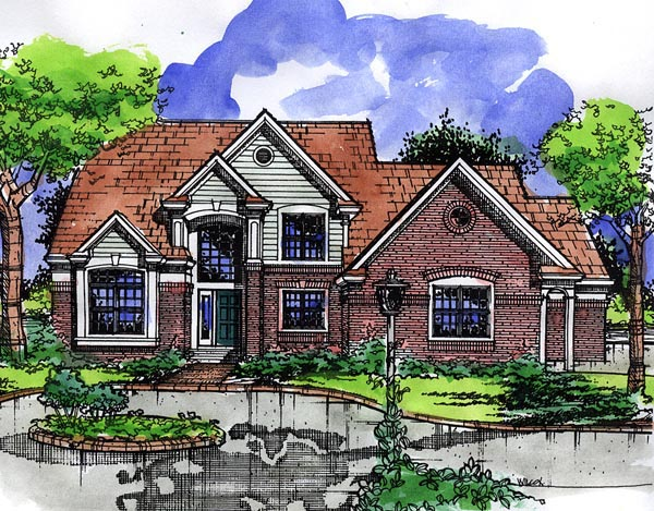 European House Plan 57500 with 4 Beds, 4 Baths, 3 Car Garage Elevation