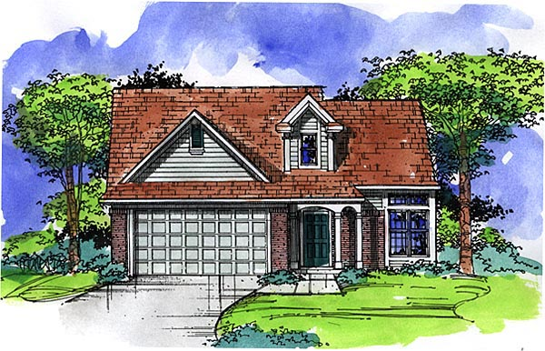 Country, Narrow Lot, Ranch House Plan 57501 with 4 Beds, 3 Baths, 2 Car Garage Elevation