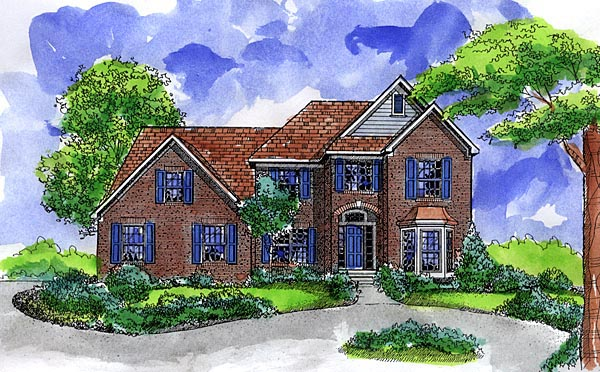 European House Plan 57502 with 4 Beds, 4 Baths, 3 Car Garage Elevation