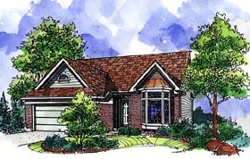 House Plan 57505 | Country Ranch Style Plan with 1620 Sq Ft, 3 Bedrooms, 2 Bathrooms, 2 Car Garage Elevation