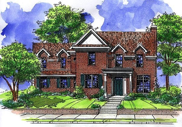 House Plan 57506 | Colonial Style Plan with 1956 Sq Ft, 3 Bedrooms, 3 Bathrooms, 2 Car Garage Elevation