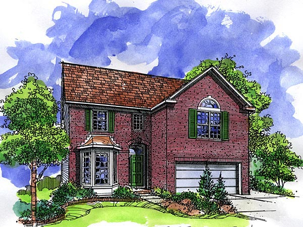 European, Narrow Lot House Plan 57507 with 3 Beds, 3 Baths, 2 Car Garage Elevation