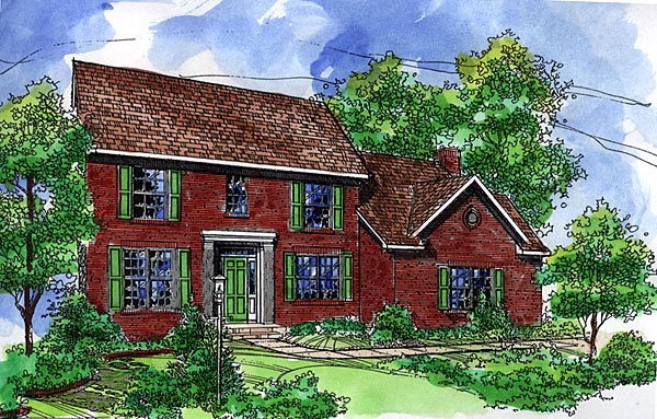 Colonial House Plan 57516 Elevation