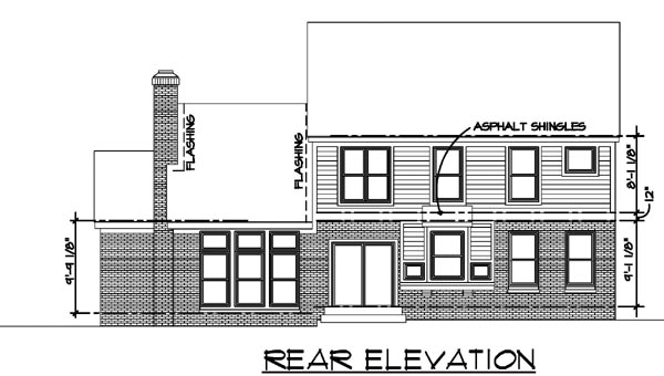 Colonial House Plan 57516 Rear Elevation