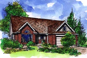Ranch , Country House Plan 57517 with 3 Beds, 2 Baths, 2 Car Garage Elevation