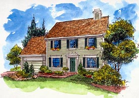 House Plan 57519 | Southern Style Plan with 1821 Sq Ft, 4 Bed, 3 Bath, 2 Car Garage Elevation