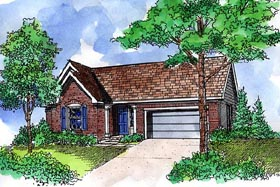Ranch House Plan 57520 with 3 Beds, 2 Baths, 2 Car Garage Elevation