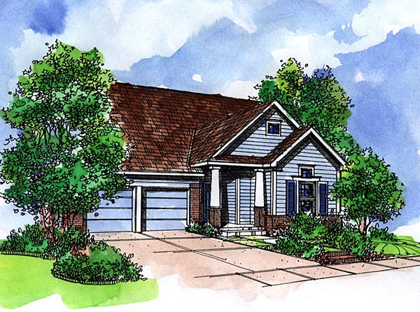 Bungalow, Craftsman, Narrow Lot, One-Story House Plan 57521 with 2 Beds, 2 Baths, 2 Car Garage Front Elevation