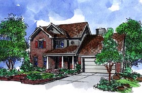 House Plan 57522 | Country Style Plan with 2282 Sq Ft, 4 Bedrooms, 3 Bathrooms, 2 Car Garage Elevation