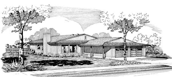 Ranch House Plan 57530 with 3 Beds, 2 Baths, 2 Car Garage Elevation