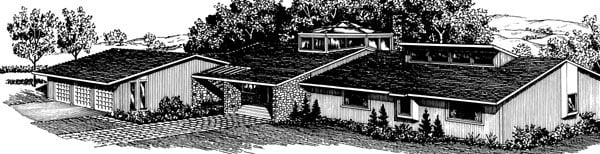 One-Story Elevation of Plan 57533