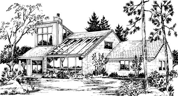 House Plan 57536 | Style Plan with 2645 Sq Ft, 4 Bedrooms, 4 Bathrooms, 2 Car Garage Rear Elevation