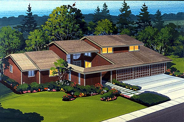 House Plan 57540 | Style Plan with 2759 Sq Ft, 4 Bedrooms, 3 Bathrooms, 3 Car Garage Elevation