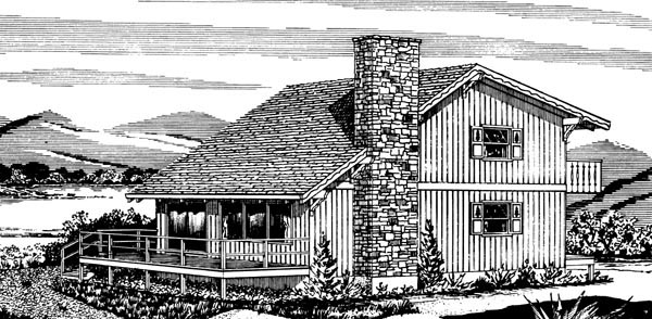 House Plan 57543 with 3 Beds, 1 Baths Rear Elevation