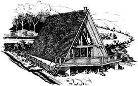 A-Frame House Plan 57545 with 3 Beds, 2 Baths Elevation