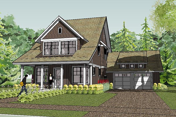 Bungalow , Cape Cod , Cottage , Craftsman , Farmhouse , Traditional House Plan 57600 with 2 Beds, 3 Baths, 2 Car Garage Elevation