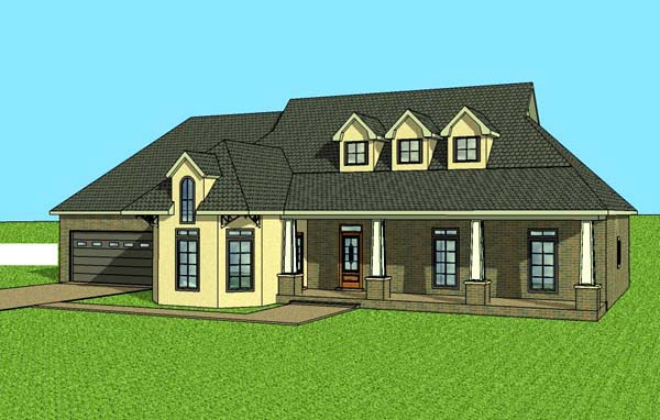 Contemporary Southern House Plan 57703 Elevation