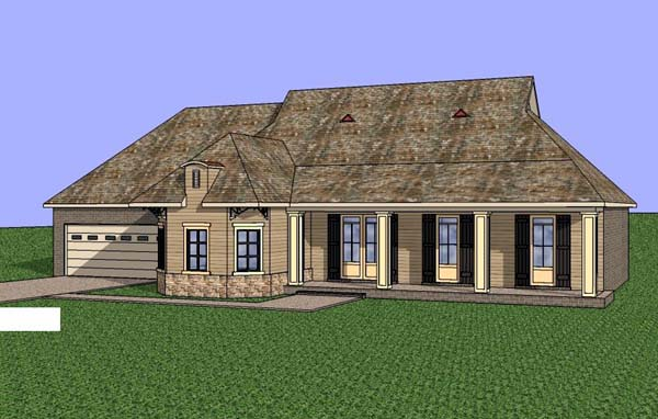 Contemporary, Southern House Plan 57706 with 3 Beds, 2 Baths, 2 Car Garage Elevation