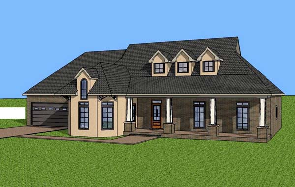 Contemporary , Southern House Plan 57707 with 3 Beds, 2 Baths, 2 Car Garage Elevation