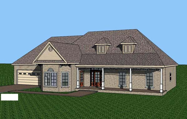 Contemporary, Southern House Plan 57709 with 3 Beds, 2 Baths, 2 Car Garage Elevation