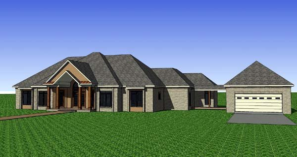 Contemporary, Florida, Southern House Plan 57713 with 3 Beds, 3 Baths, 2 Car Garage Elevation