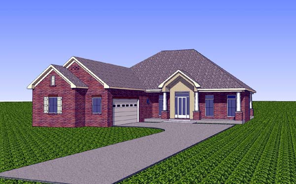 Country, Southern House Plan 57721 with 3 Beds, 2 Baths, 2 Car Garage Elevation