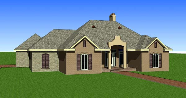 Contemporary, Southern House Plan 57731 with 3 Beds , 2 Baths , 2 Car Garage Elevation