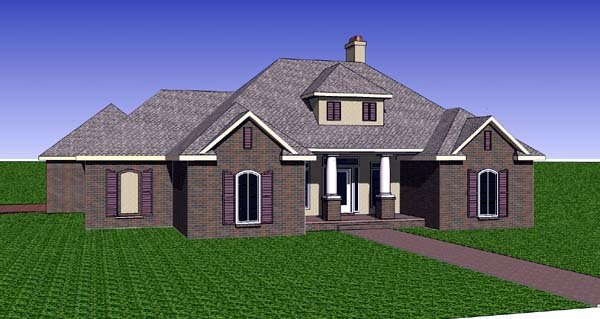 Contemporary, Southern House Plan 57740 with 3 Beds, 2 Baths, 2 Car Garage Elevation