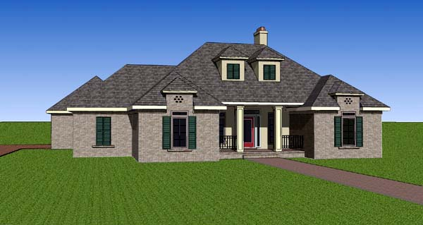 Contemporary, Southern House Plan 57741 with 3 Beds, 2 Baths, 2 Car Garage Elevation