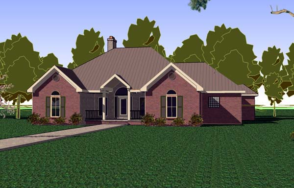 Florida, Southern, Traditional House Plan 57743 with 3 Beds, 2 Baths, 2 Car Garage Elevation