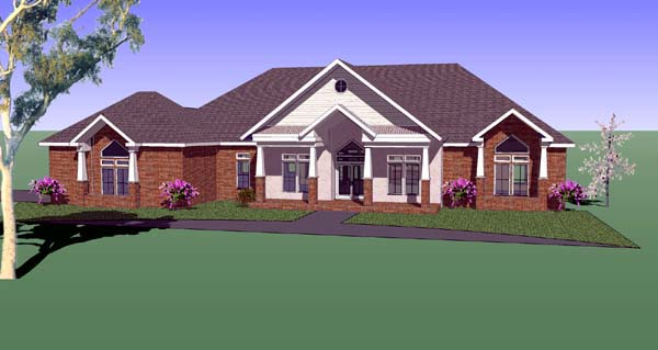 Country, Southern House Plan 57744 with 3 Beds, 3 Baths, 2 Car Garage Elevation