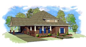 Cottage , Southern House Plan 57747 with 3 Beds, 3 Baths, 1 Car Garage Elevation