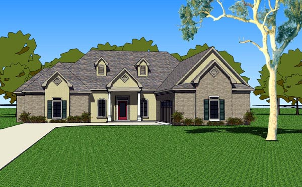 Country, Southern House Plan 57748 with 3 Beds, 3 Baths, 2 Car Garage Elevation